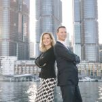 Business Portrait of two professionals with International Towers Sydney behind them. The sun is coming up over Barangaroo